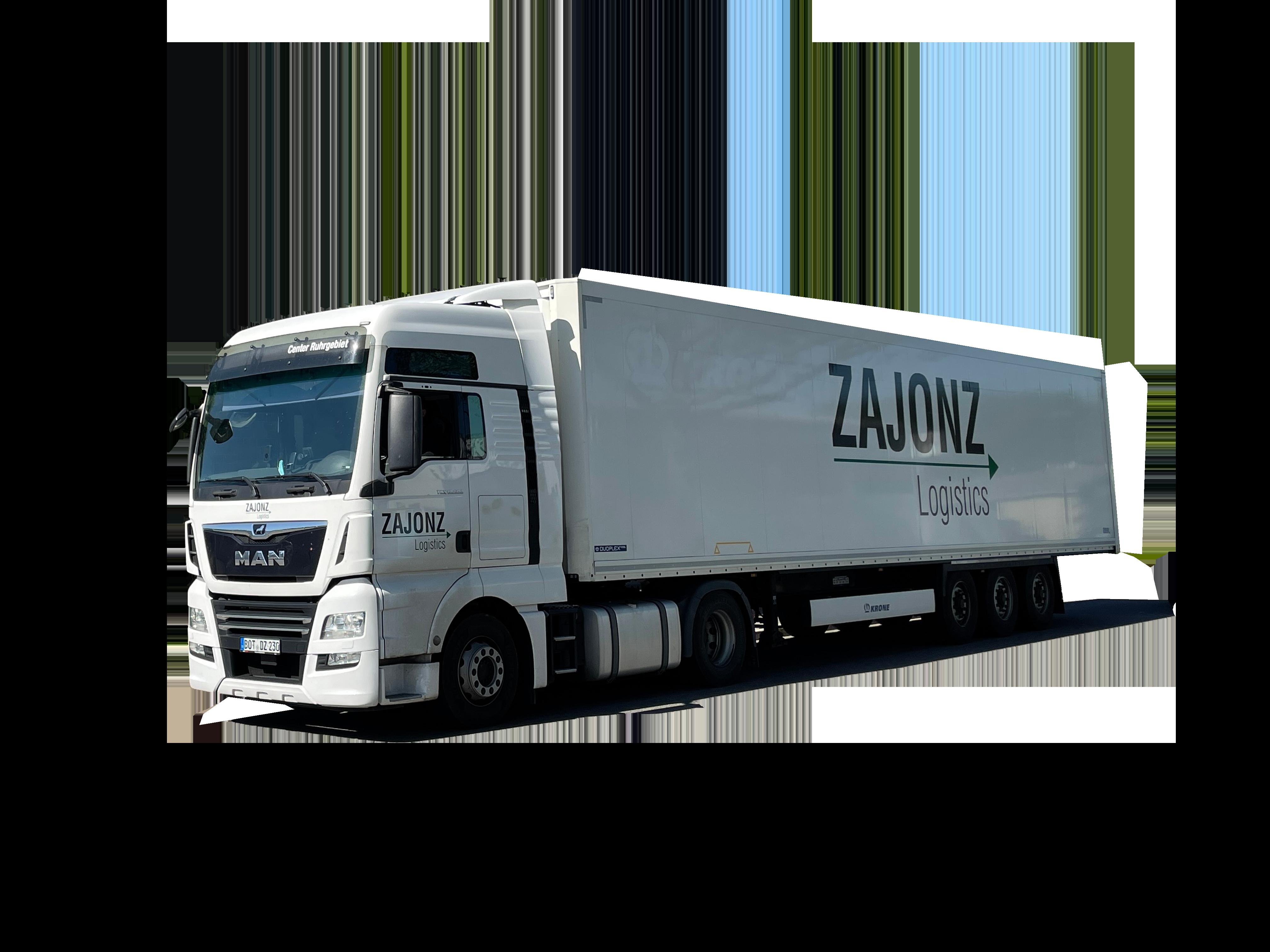 Weißer LKW mit Logo - Zajonz Logistics – Ihrem Logistikspezialisten in Bottrop und Dorsten
